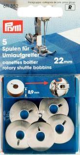 Prym 5 Nähmaschinen Spulen ST für Umlaufgreifer 21,9mm
