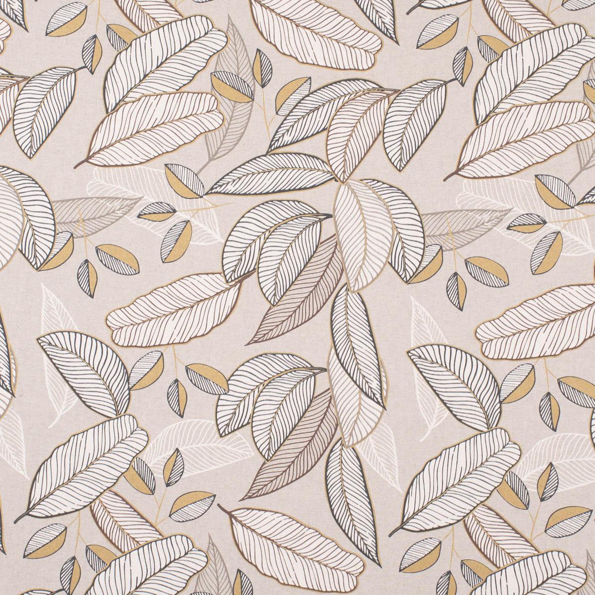 Dekostoff Halb-Panama Neflier Blätter abstrakt natur gold 155cm Breite