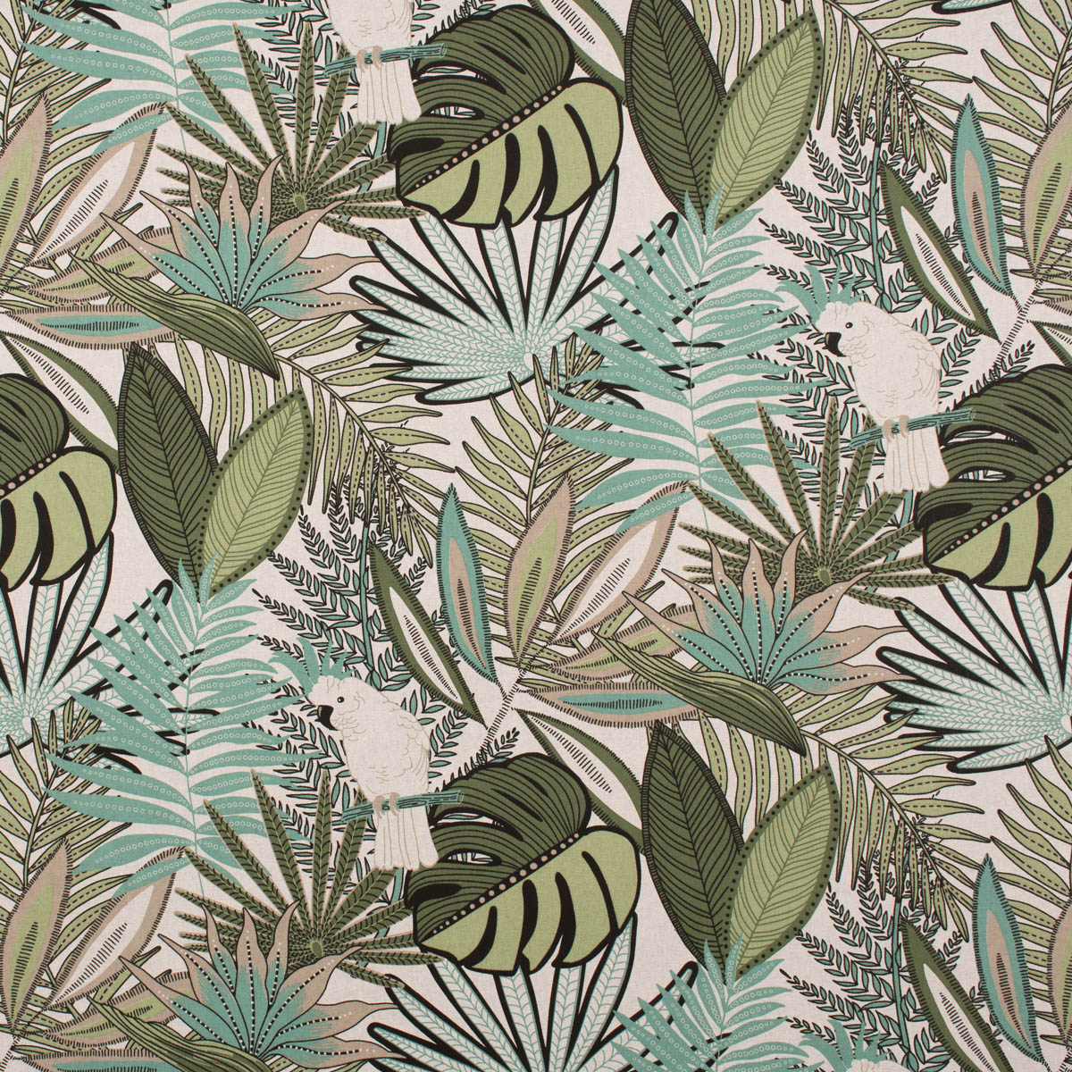 Dekostoff Halb-Panama Cacatoes Farne Blätter Kakadu natur grün155cm Breite