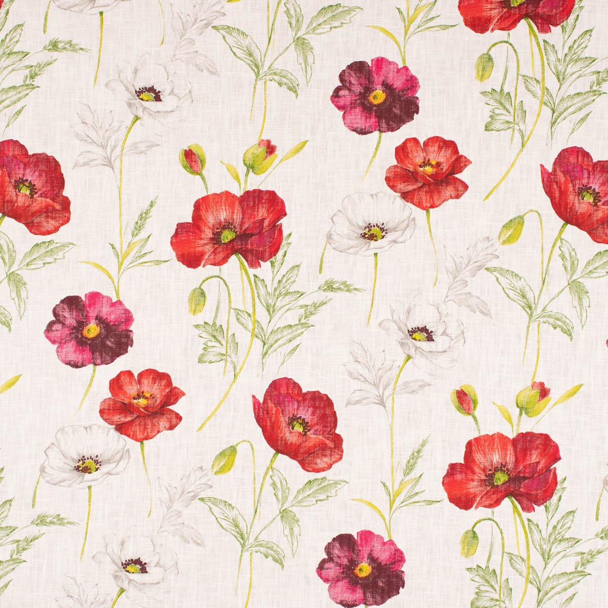 Dekostoff Ramie Leinenoptik Mohnblüten Blumen offwhite rot pink 1,50m Breite