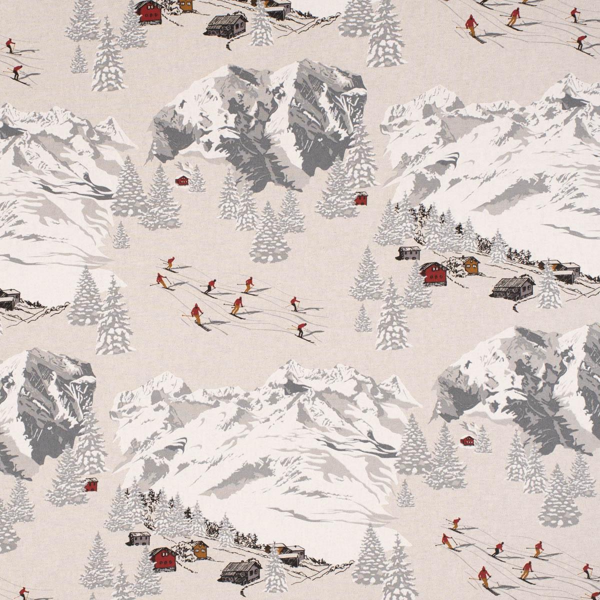 Dekostoff Halb-Panama Skifahrer Winterlandschaft natur grau 155cm Breite