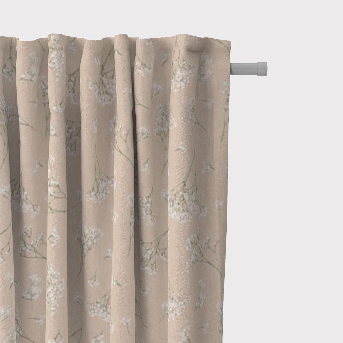SCHÖNER LEBEN. Vorhang Leinenlook Florist Elegant Schleierkraut natur weiß 245cm oder Wunschlänge