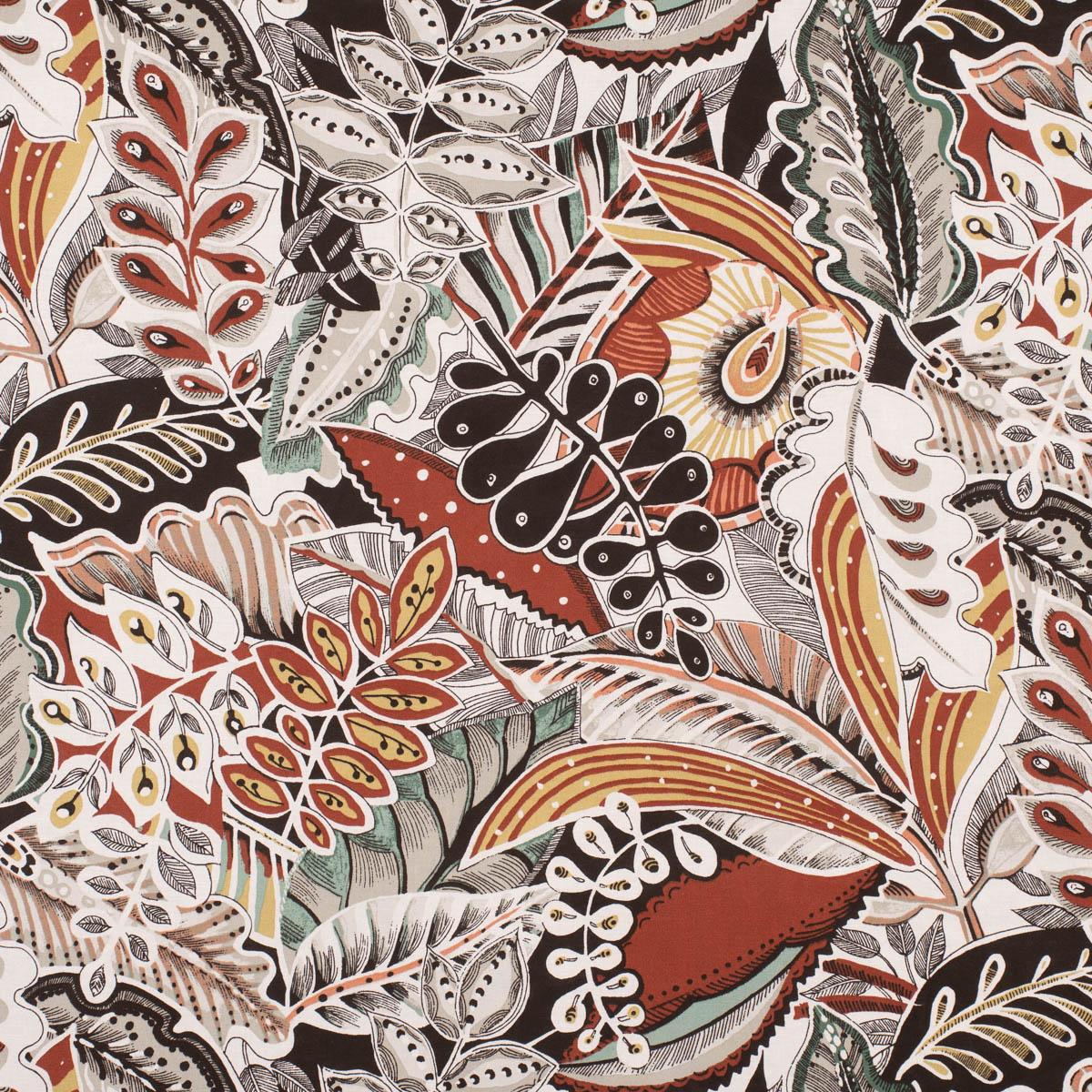Dekostoff Halb-Panama überbreit Allover Blätter abstrakt terracotta 280cm Breite
