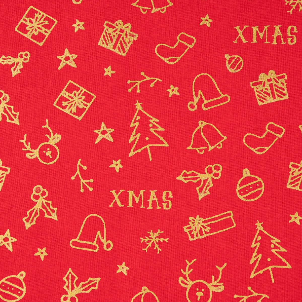Baumwollstoff GOTS Popeline Weihnachten XMAS Tannenbaum Geschenk rot goldfarbig 1,45m Breite