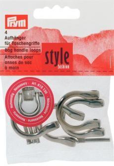 Prym 4 Aufhänger für Taschengriffe silberfarbig 18mm