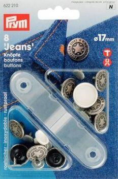 Prym NF-Jeans-Knöpfe MS altsilber American Star 17 mm