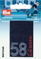 Prym Applikation Label Classic 58 blau 001