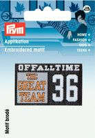 Prym Applikation Label Great Team schwarz-weiß 001
