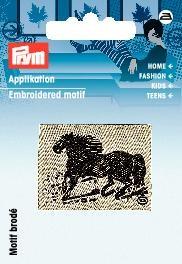 Applikation Label Pferd schwarz/beige