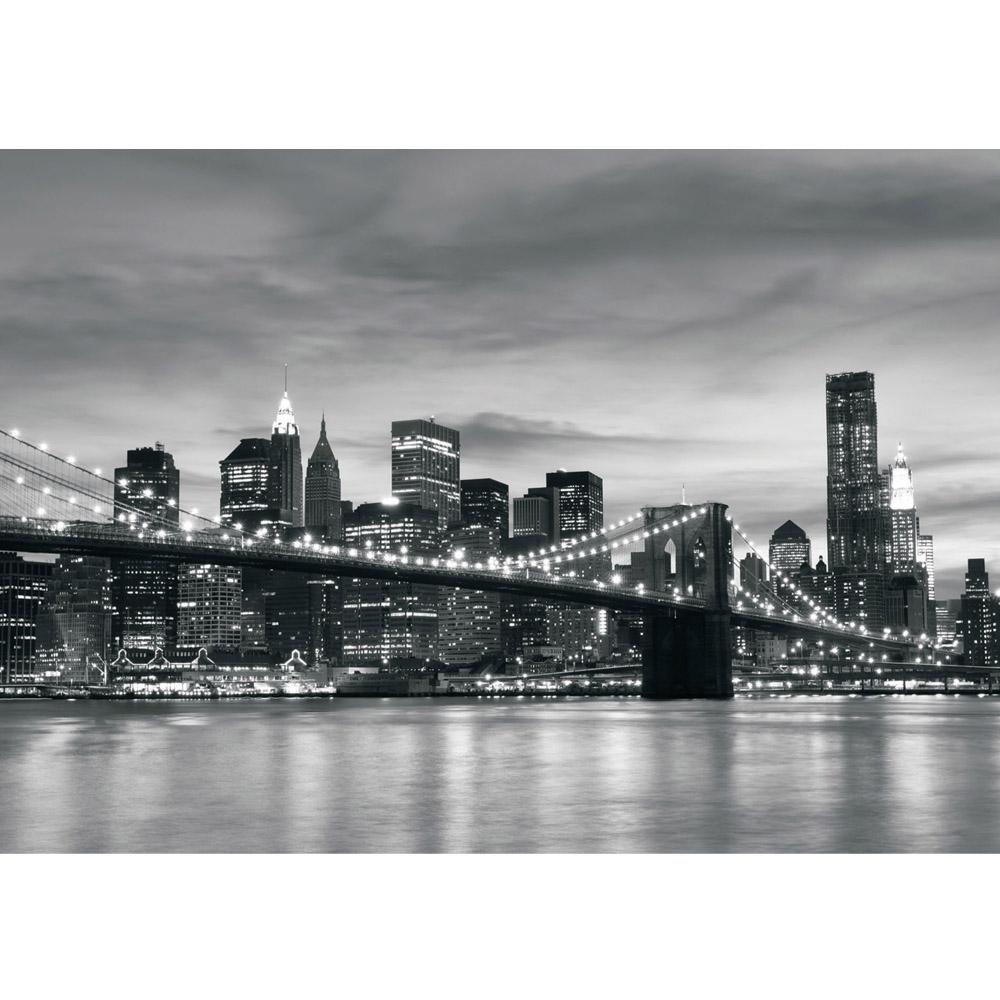 Fototapete no. 269 | Vlies | New York Tapete Bridge Lightning schwarz - weiß Motiv 0269