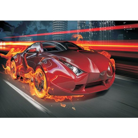 Non-woven Mural no. 323 | Cars wallpaper car fire tire Lightning boys men illustration red Motiv