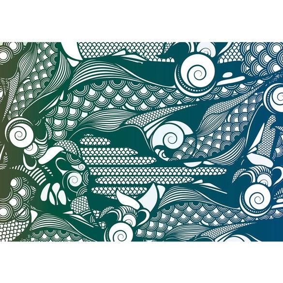 Fototapete no. 354 | Vlies | Illustrationen Tapete Abstrakt Flügel bunt grün Motiv 0354
