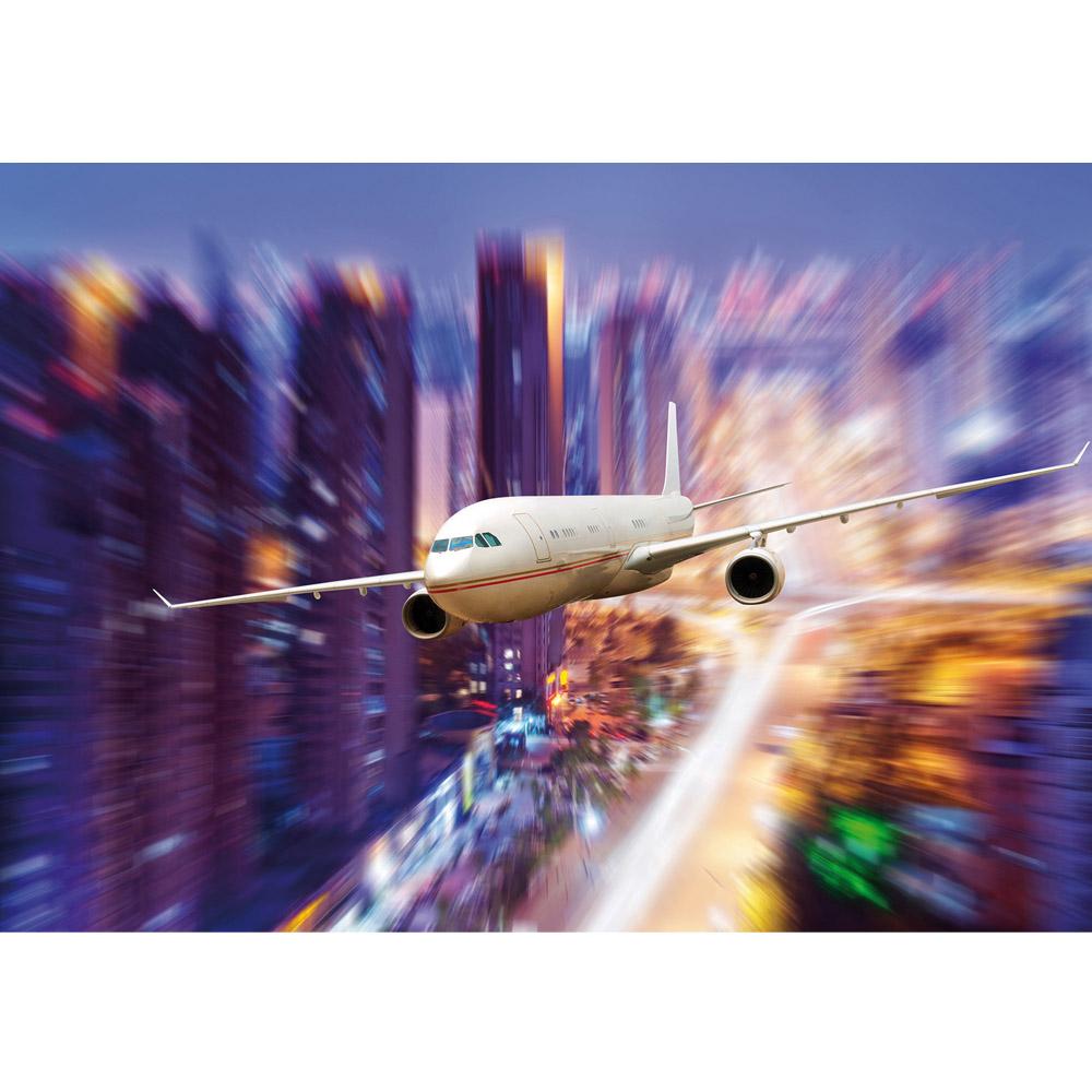 Fototapete no. 416 | Vlies | Skylines Tapete Flugzeug Skyline Lightning bunt Motiv 0416