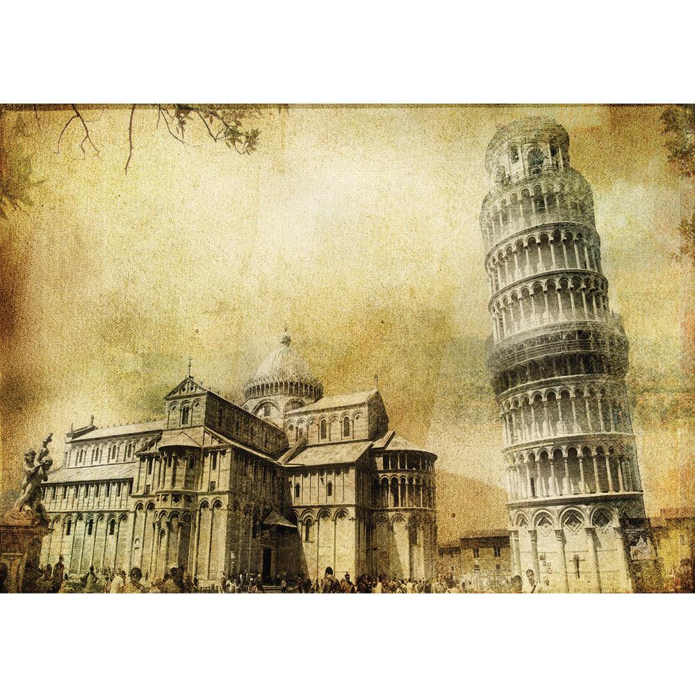 Fototapete no. 537   Vlies   Italien Tapete Pisa Turm Kathedrale Blätter Statue Motiv 0537