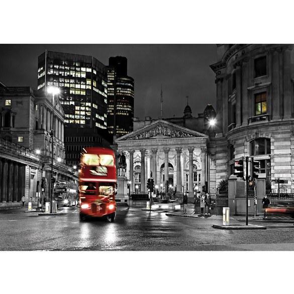 Fototapete no. 538 | Vlies | London Tapete Bus Lightning Nacht Skyline rot Motiv 0538