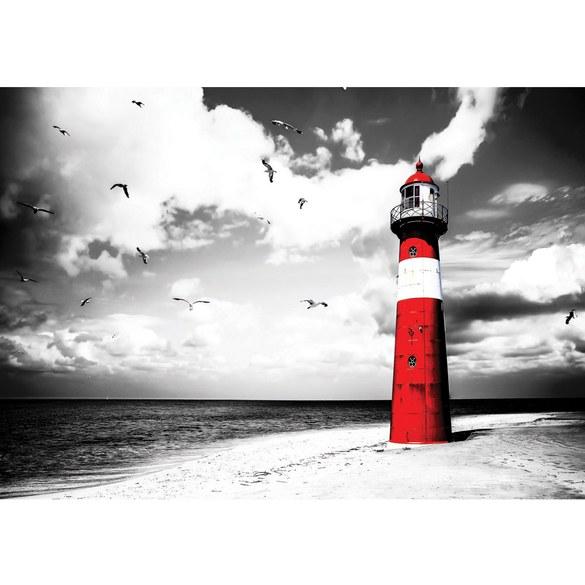 Fototapete no. 542 | Vlies | Strand Tapete Leuchtturm Wolken Meer Vögel Möwen Motiv 0542