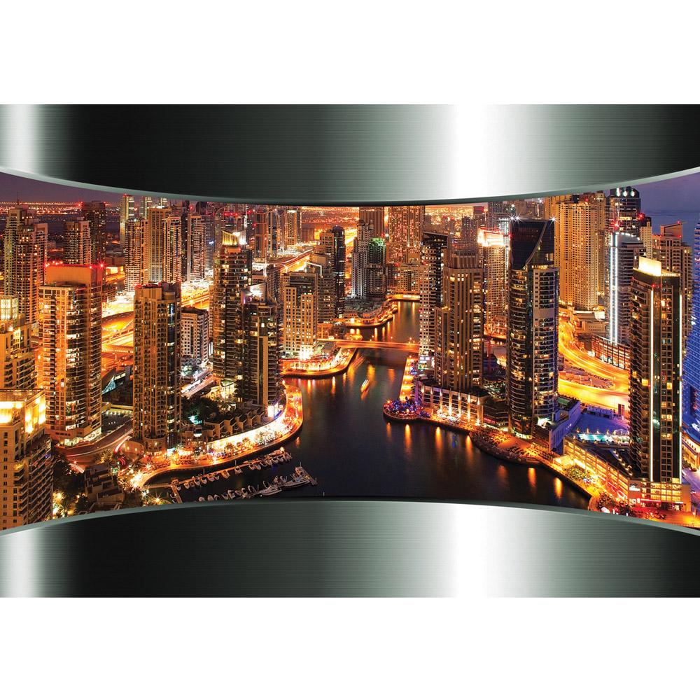 Fototapete no. 630 | Vlies | Skylines Tapete Skyline Panorama Hafen Lightning Motiv 0630