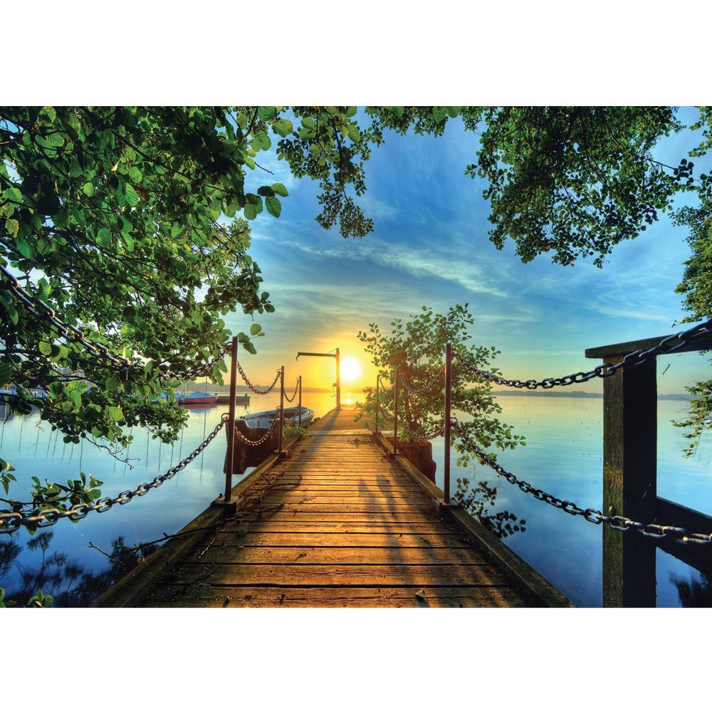 Fototapete no. 636 | Vlies | Sonnenuntergang Tapete Baum Weg Steg Boot blau Motiv 0636