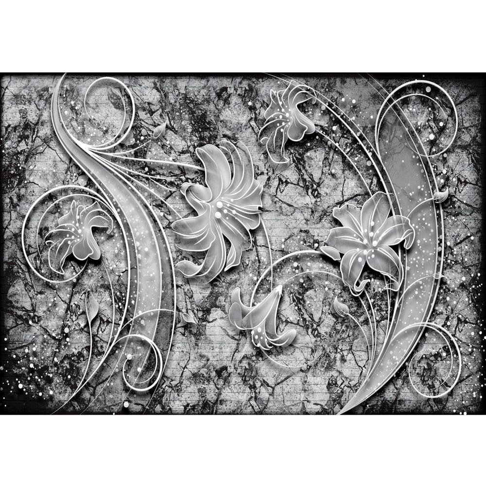 Fototapete no. 705 | Vlies | Ornamente Tapete Blume Blüte Perle grau Motiv 0705