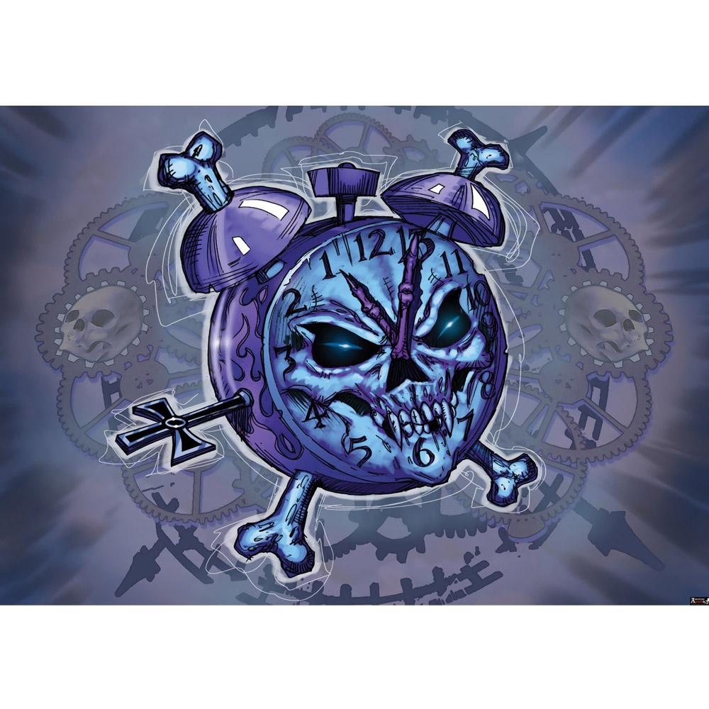 Fototapete no. 713 | Vlies | Illustrationen Tapete Alchemy Totenkopf Wecker Motiv 0713