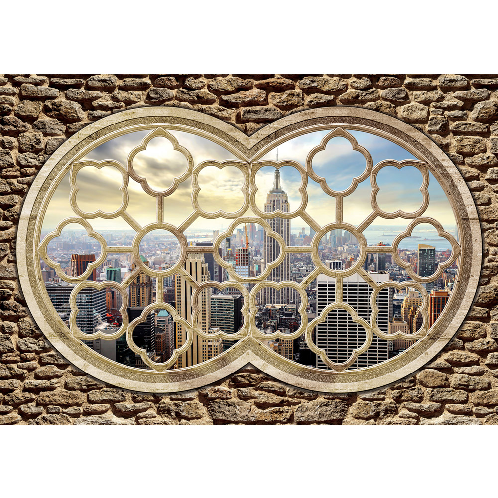 Fototapete no. 725 | Vlies | Skylines Tapete Fenster Stadt Skyline New York Motiv 0725