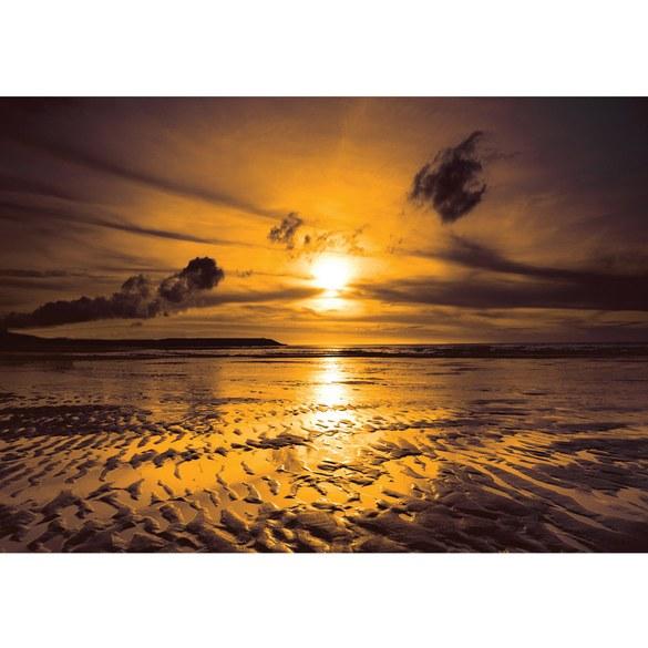 Fototapete no. 814 | Vlies | Sonnenuntergang Tapete Meer Ebbe Wellen Strand Motiv 0814