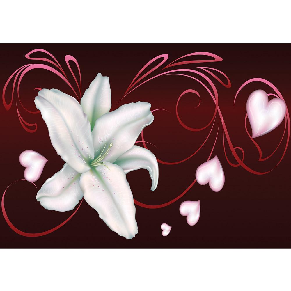 Fototapete no. 870 | Vlies | Ornamente Tapete Blume Blüte Herzen Schnörkel Motiv 0870