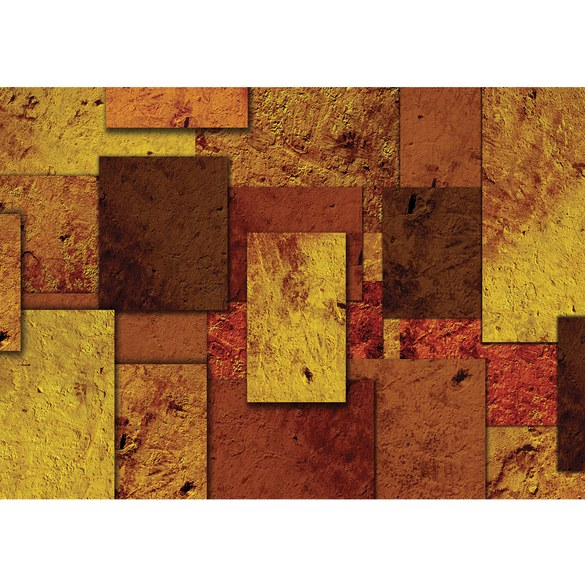 Non-woven Mural no. 889 | 3D Wallpaper Abstract rectangles stone look pattern design optics yellow Motiv