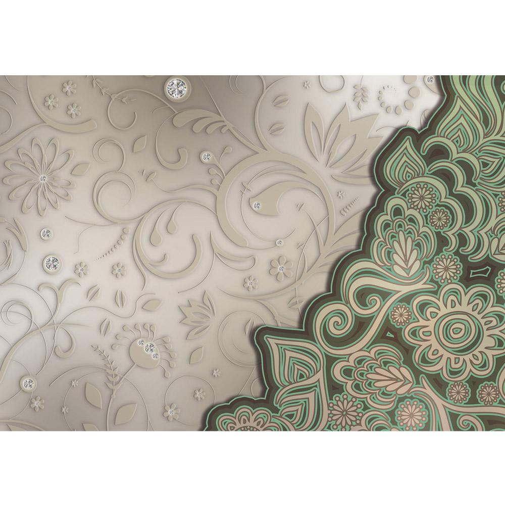 Fototapete no. 895 | Vlies | Ornamente Tapete Oriental Blüten Blumen Diamant Motiv 0895