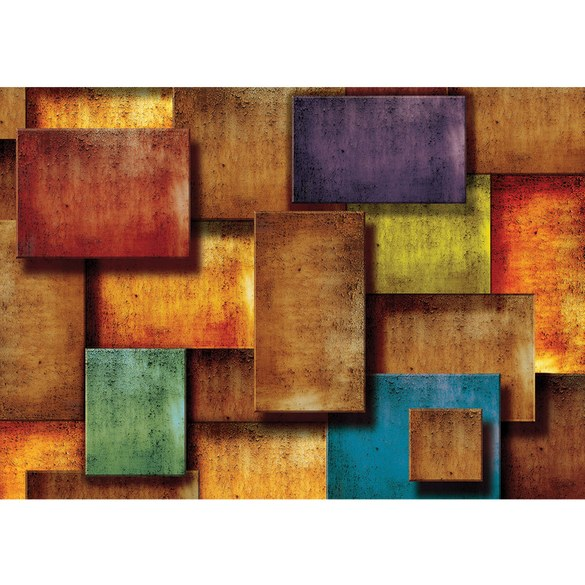 Non-woven Mural no. 927 | 3D Wallpaper Abstract rectangles stone look pattern design optics brown Motiv