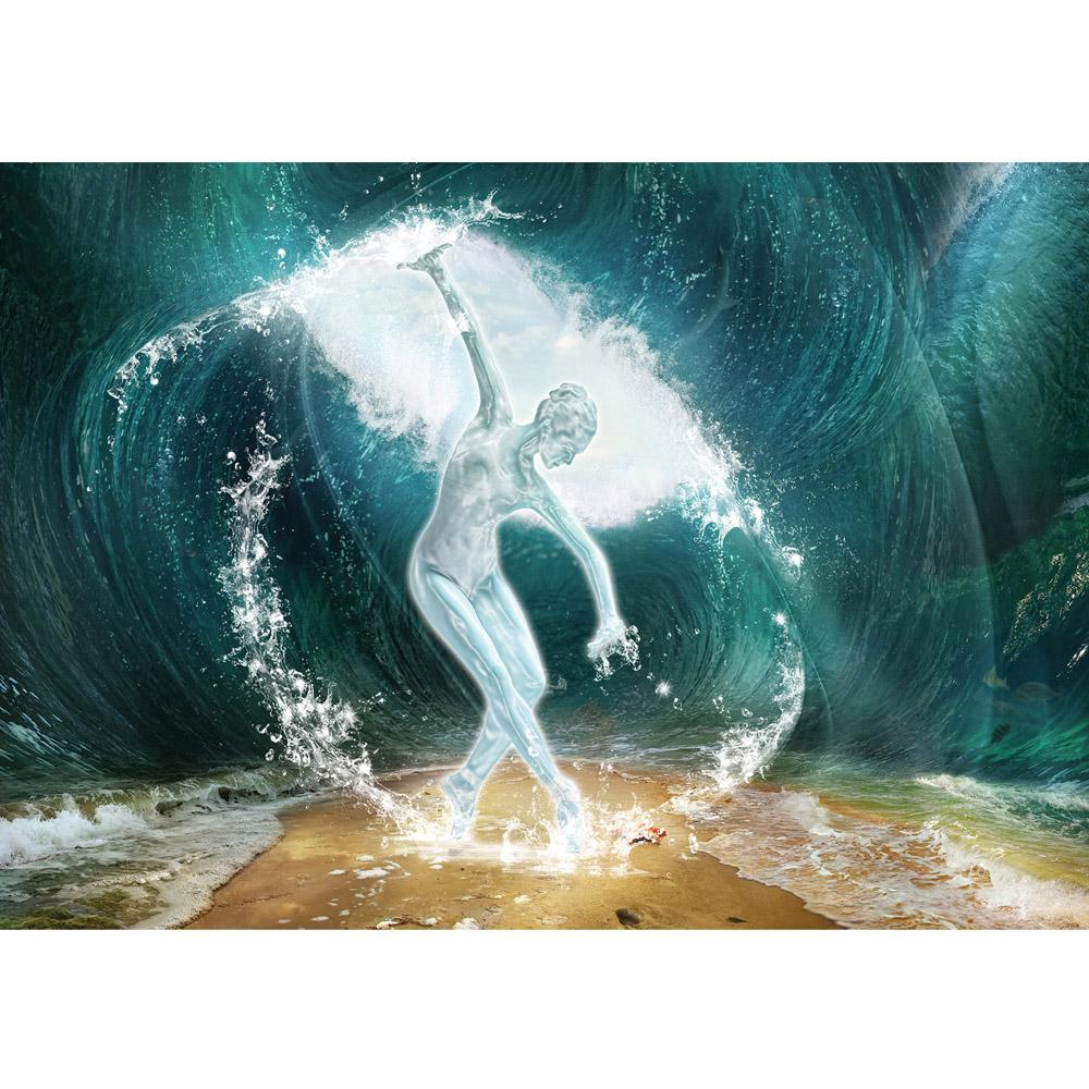 Fototapete no. 962 | Vlies | Meer Tapete Skulptur Frau Sand Wasser Welle Ozean Motiv 0962
