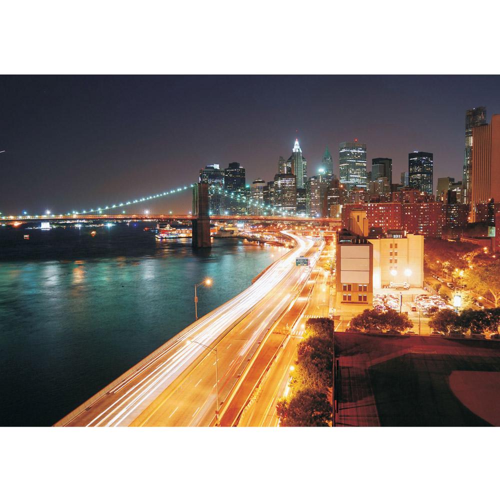 Fototapete no. 1111 | Vlies | New York Tapete Skyline Straße Lightning blau Motiv 1111