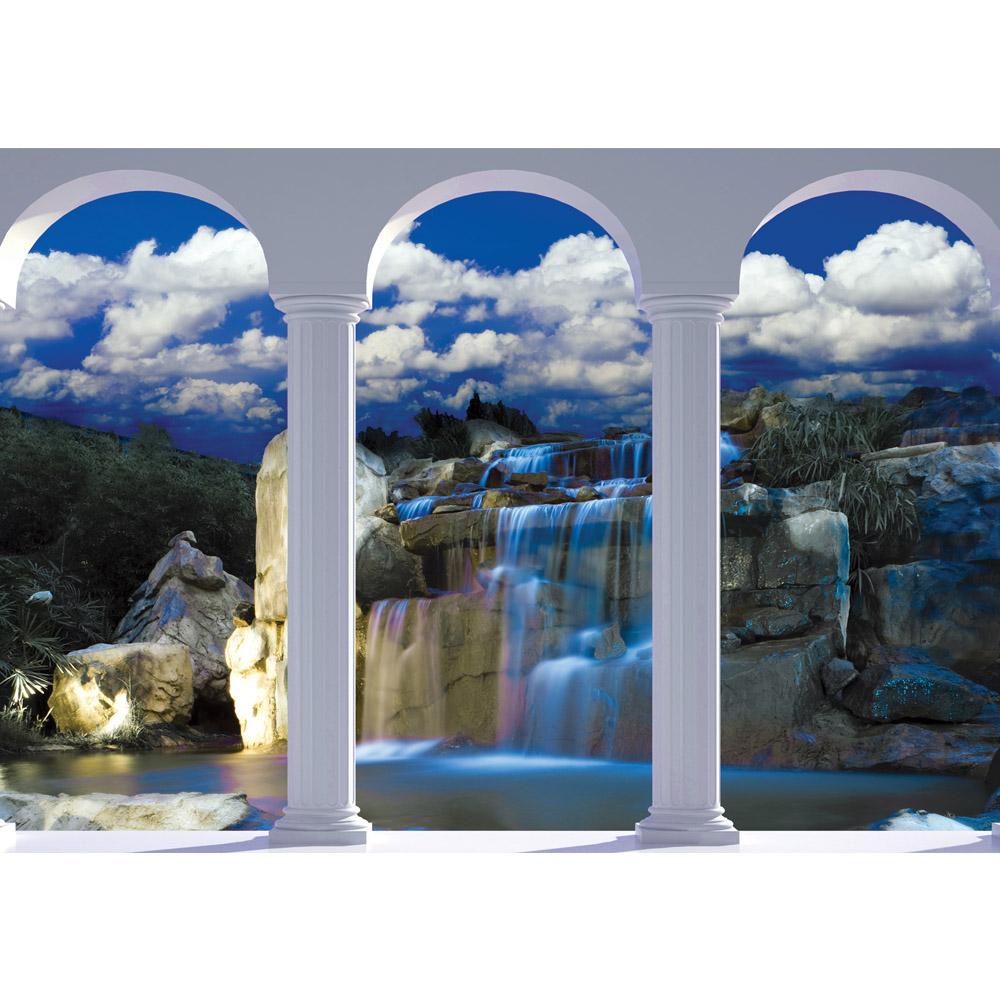 Fototapete no. 1239   Vlies   Wasser Tapete Bogen Wasserfall Felsen blau Motiv 1239