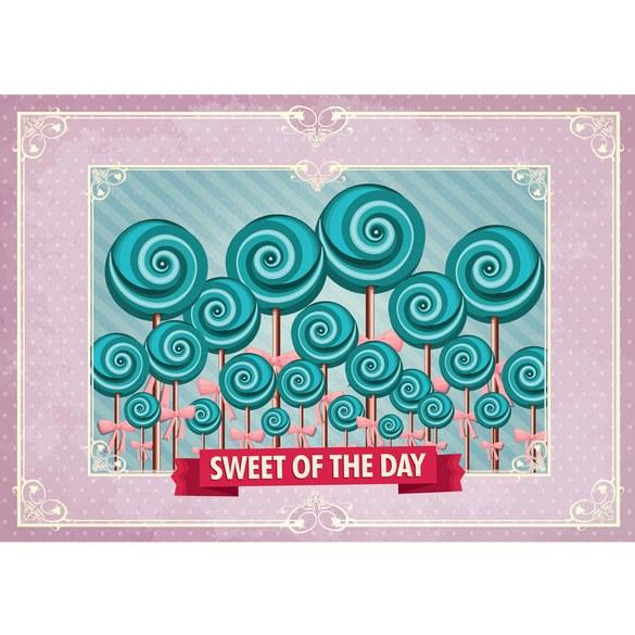 Fototapete no. 1245 | Vlies | Speisen Tapete Lollypop Illustration Ornamente Motiv 1245