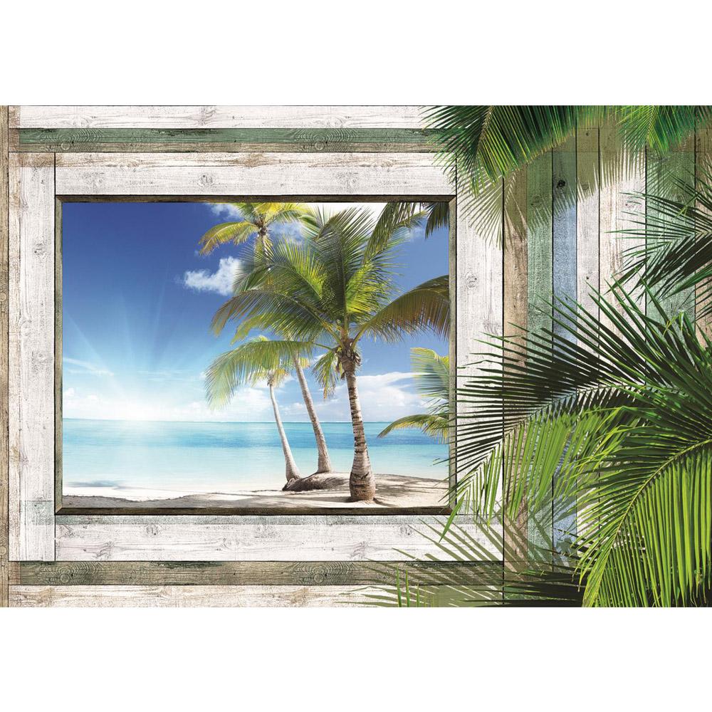 Fototapete no. 1321 | Vlies | Meer Tapete Holzwand Holz Fenster Palme Strand Motiv 1321