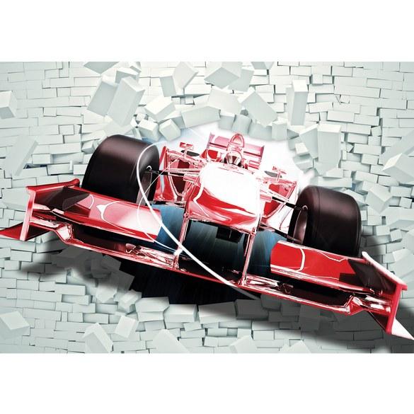 Non-woven Mural no. 1506 | Autos Tapete Rennauto Motorsport Fahrzeug Steinwand Mauer rot Motiv