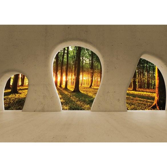 Fototapete no. 1508 | Vlies | Architektur Tapete Wald Bäume Natur Sonnenaufgang Motiv 1508
