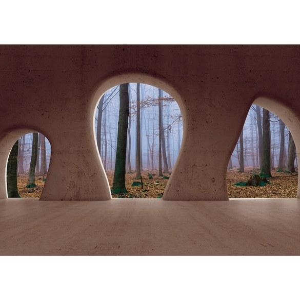 Fototapete no. 1510 | Vlies | Architektur Tapete Wald Bäume Nebel Herbst Natur Motiv 1510