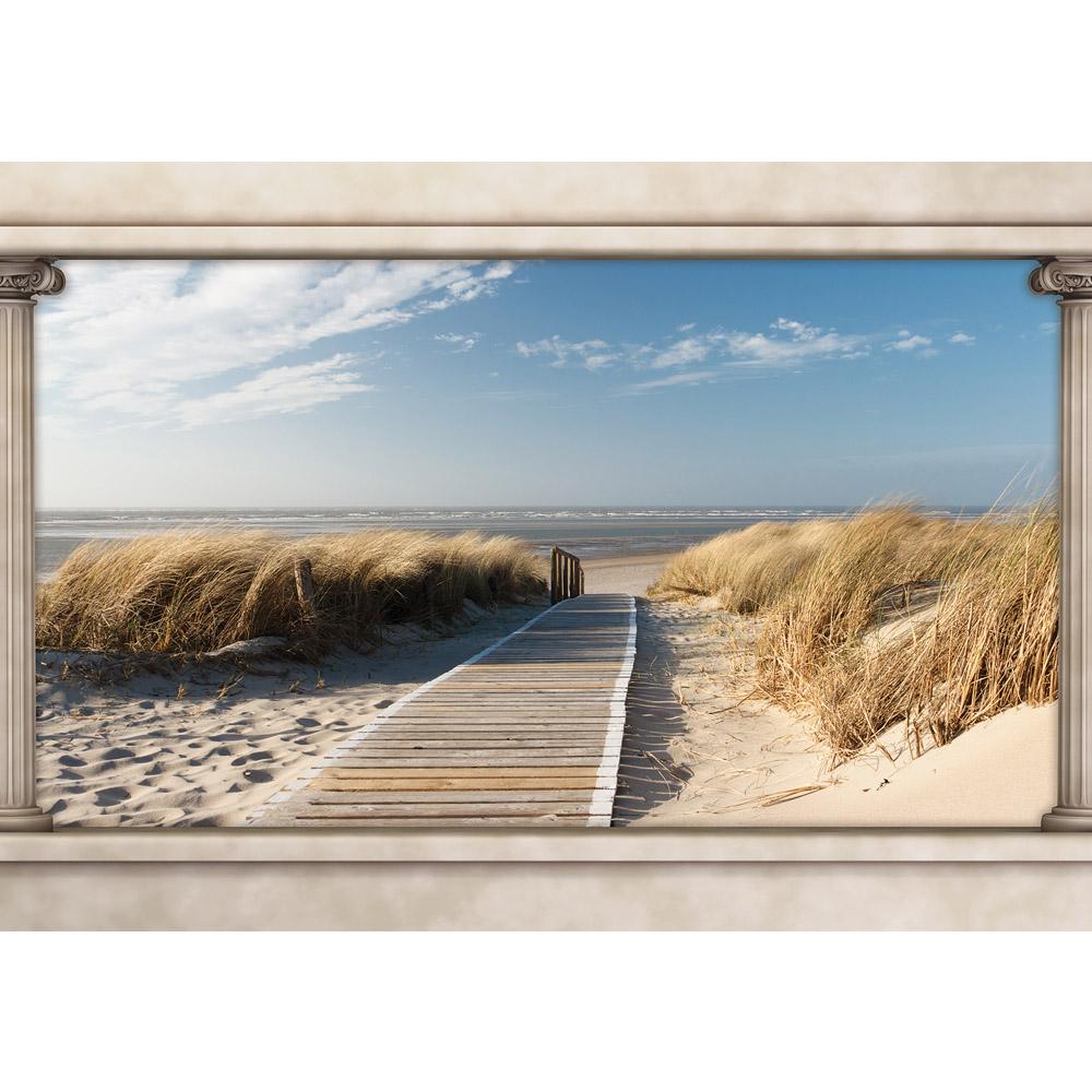Fototapete no. 1511   Vlies   Strand Tapete Himmel Wasser Steg Gräser Säulen Motiv 1511
