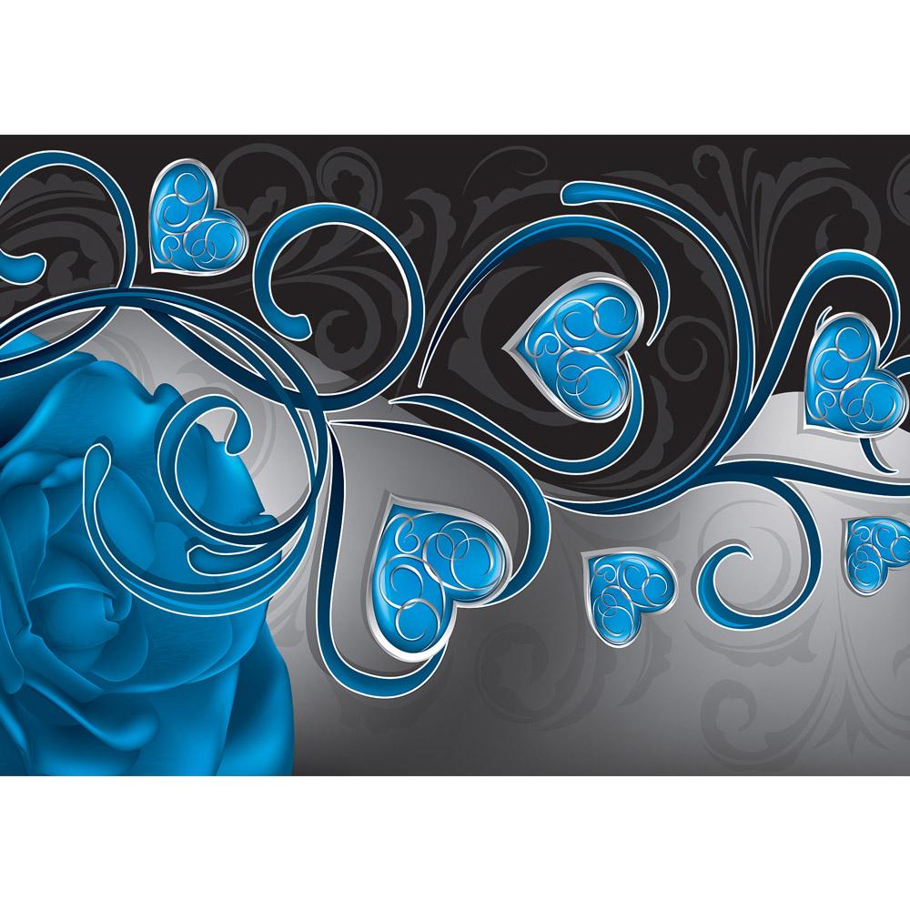 Fototapete no. 1567 | Vlies | Blumen Tapete Herzen Blume Blüten Rose blau Motiv 1567