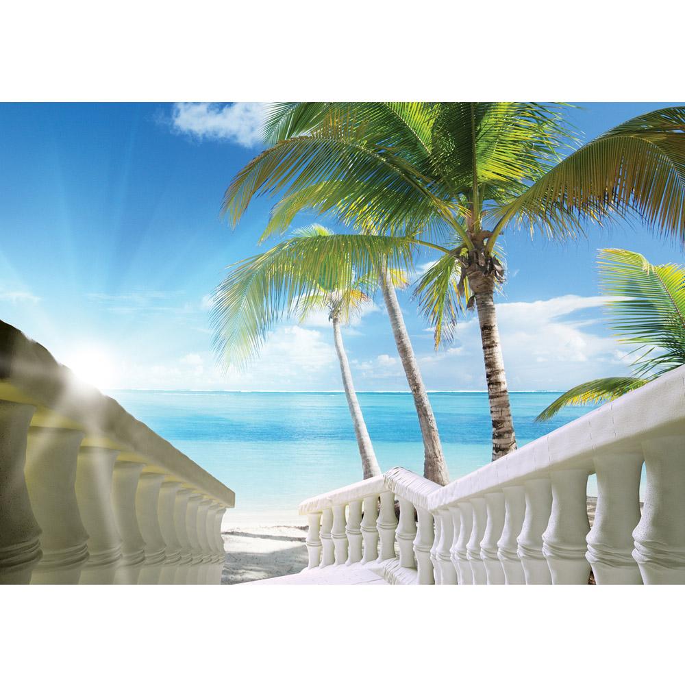 Fototapete no. 1571 | Vlies | Meer Tapete Karibik Palmen Horizont Himmel blau Motiv 1571