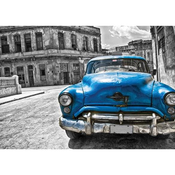 Non-woven Mural no. 1590 | Autos Tapete Oldtimer Havanna Kuba Gemälde schwarz - weiß Motiv