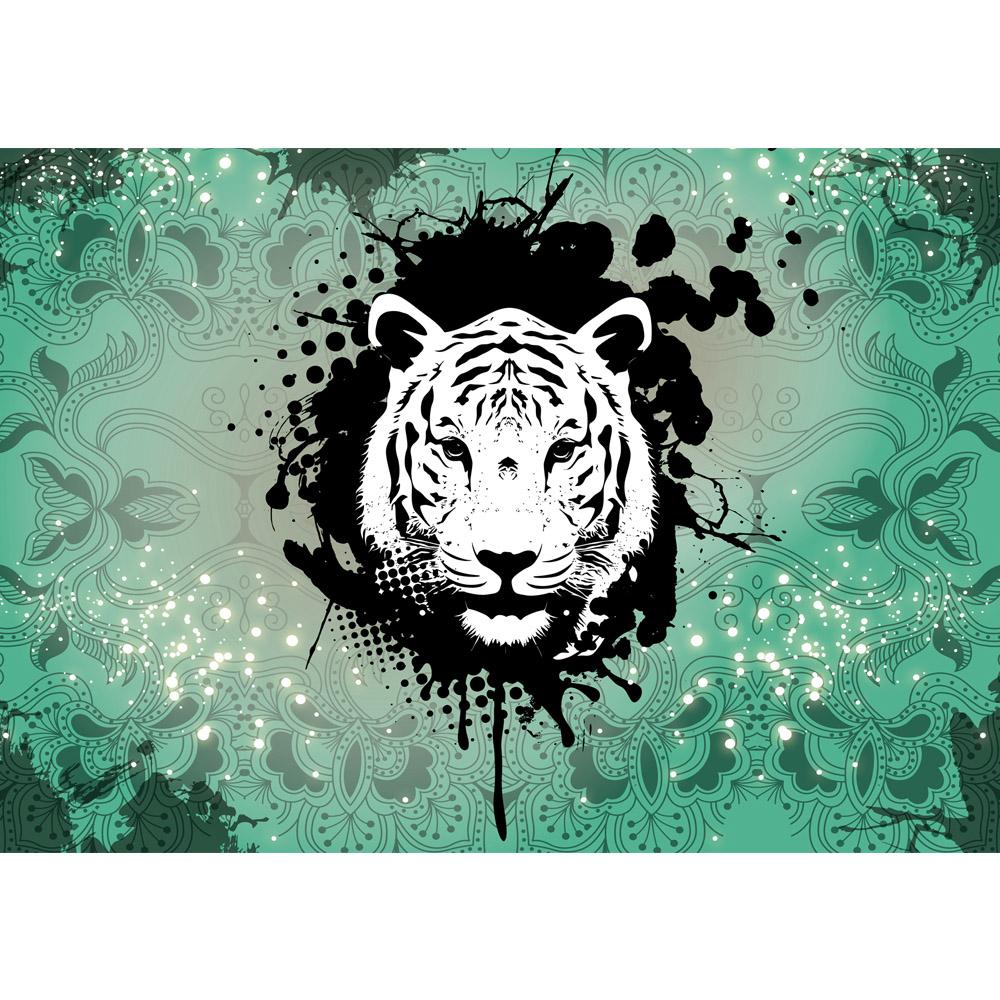 Fototapete no. 1628 | Vlies | Tiere Tapete Ornamente Punkte Tiger grün Motiv 1628