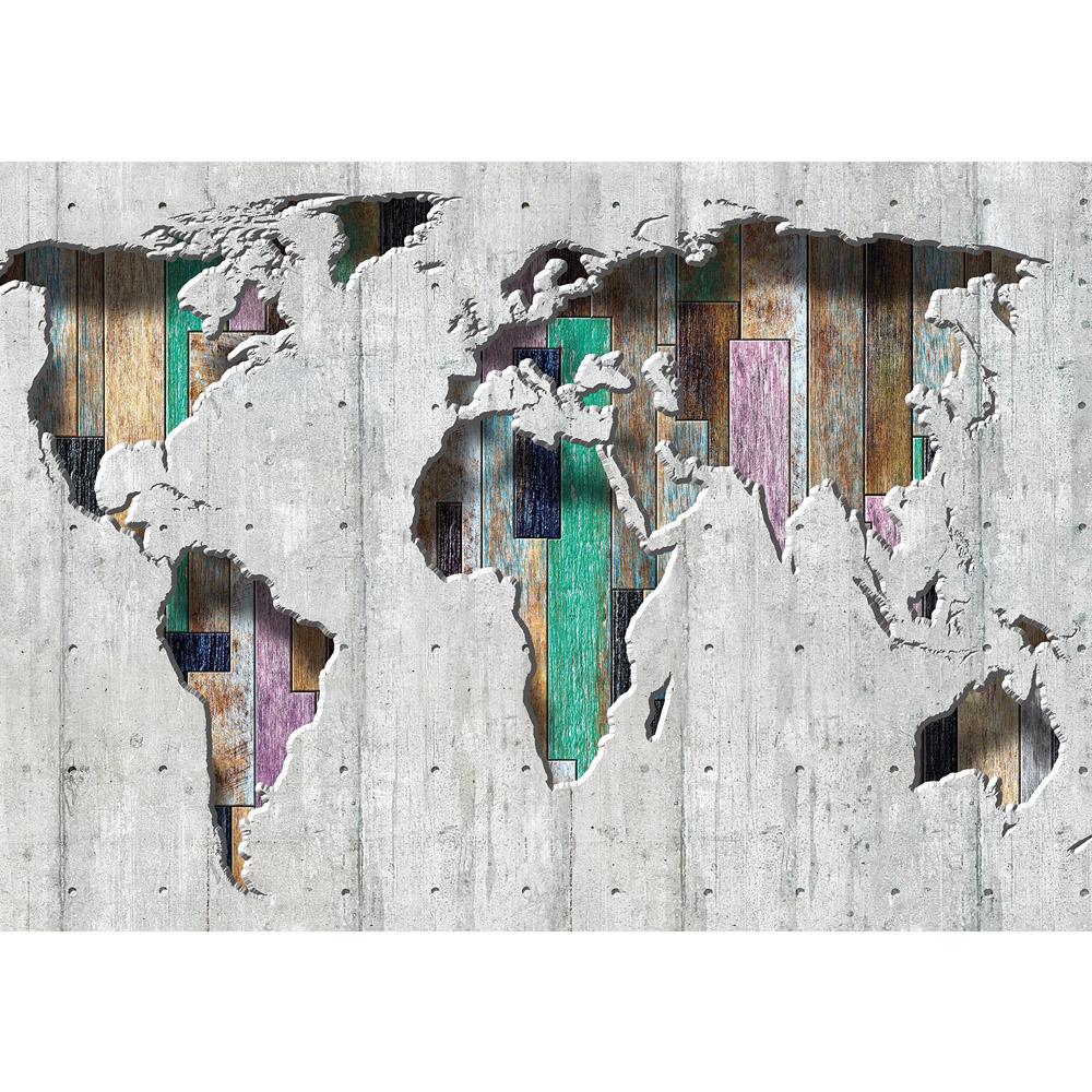 Fototapete no. 1655 | Vlies | Welt Tapete Kontinente Holz Holzoptik grau Motiv 1655