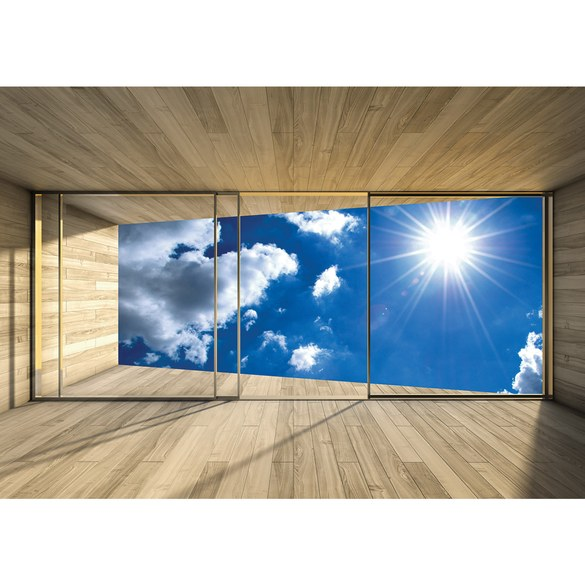 Mural no. 1767 | Non-woven or Paper | sky wallpaper room view slice wood