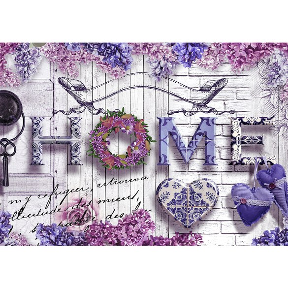 Mural no. 1774 | Non-woven or Paper | wood wallpaper wall lavender flowers