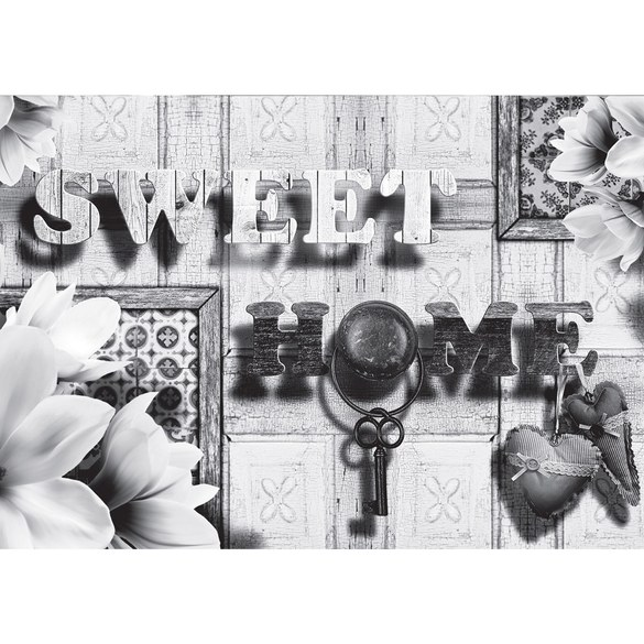 Mural no. 1782 | Non-woven or Paper | wood wallpaper sweet home flowers