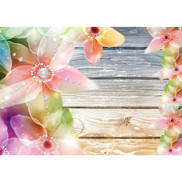 Fototapete no. 1808 | Vlies | Holz Tapete Blumen Holzwand Illustrationen Texturen Motiv 1808