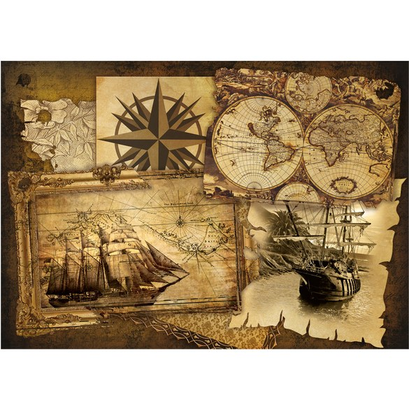 Mural no. 1861 | Non-woven or Paper | geography wallpaper map ship vintage