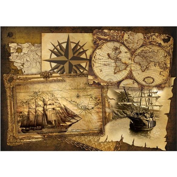 Non-woven Mural no. 1861 | Geography Map wallpaper ship Vintage compass brown Motiv
